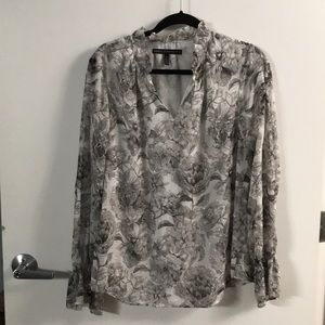 Grey floral blouse with ruffle and silver detail